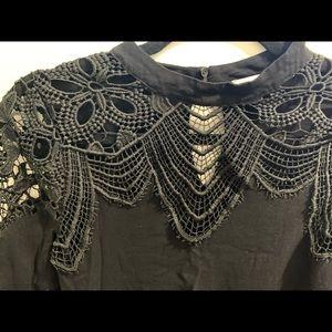 Lush Tops - Women boutique black lace blouse